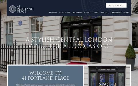 Screenshot of Home Page 41portlandplace.com - Home - 41 Portland Place - captured Sept. 21, 2018