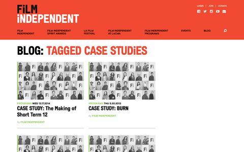 Screenshot of Case Studies Page filmindependent.org - Case Studies Archives - Film Independent - captured Jan. 11, 2017