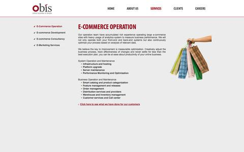 Screenshot of Services Page obisgroup.com - E-commerce Operation | Obis - captured Sept. 30, 2014