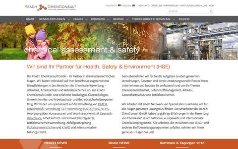 Screenshot of Home Page reach-chemconsult.com - REACh ChemConsult GmbH – Ihr Partner für HSE – REACH – Kosmetik – Biozidprodukte – Pharma – HAZOP – IUCLID – CLP - Lebensmittel - captured May 6, 2018