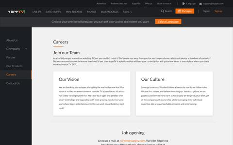 Screenshot of Jobs Page yupptv.com - Careers - captured Sept. 7, 2018