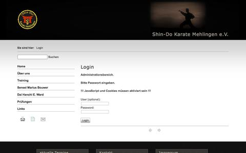 Screenshot of Login Page shin-do-karate.de - Shin-Do Karate Mehlingen e.V. - Login - captured Jan. 28, 2018