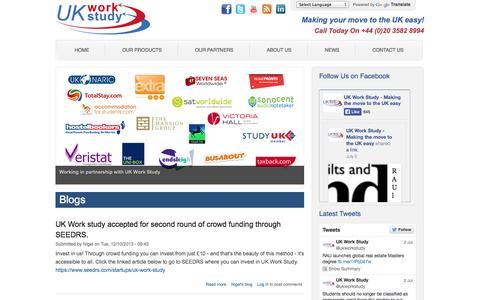 Screenshot of Blog uk-work-study.com - Working In UK | Work And Study In UK | UK Work Study Packs - captured Oct. 27, 2014