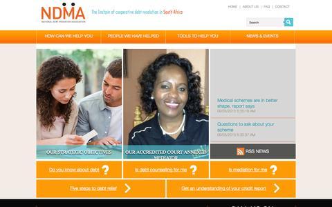 Screenshot of Home Page ndma.org.za - Home - NDMANDMA - captured Sept. 5, 2015