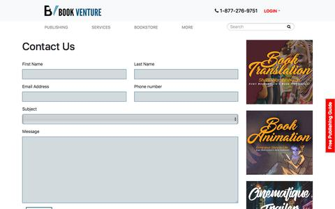Screenshot of Contact Page bookventure.com - Contact Book Venture Publishing Today! - captured Sept. 19, 2018