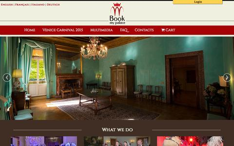 Screenshot of Home Page book-my-palace.com - Book My Palace Venice | Book balls and events in a private palace - captured Jan. 29, 2015