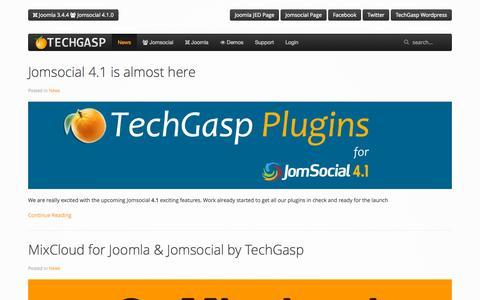 Screenshot of Home Page techgasp.com - www.techgasp.com - News - captured Oct. 2, 2015