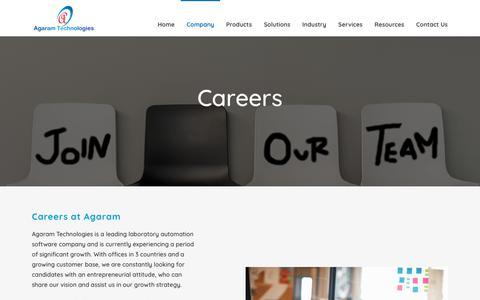 Screenshot of Jobs Page agaramtech.com - Careers - captured Oct. 15, 2018