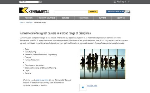 Screenshot of Jobs Page kennametal.com - Kennametal Careers - captured Jan. 13, 2018