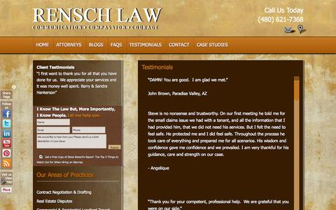 Screenshot of Testimonials Page renschlawoffice.com - Client Testimonials   Rensch Law Offices - captured Oct. 8, 2014