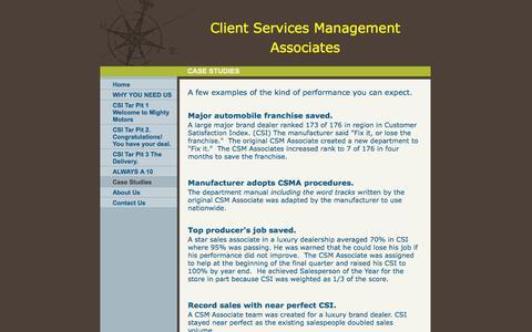 Screenshot of Case Studies Page customersatisfactionmanagementassoc.com - Customer Satisfaction Management Associates. - Case Studies - captured Oct. 1, 2014