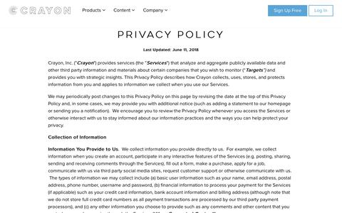 Screenshot of Privacy Page crayon.co - Crayon Privacy Policy - captured June 19, 2018
