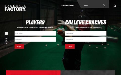 Screenshot of Login Page baseballfactory.com - Login | Baseball Players | College Baseball Coaches - captured Dec. 30, 2015
