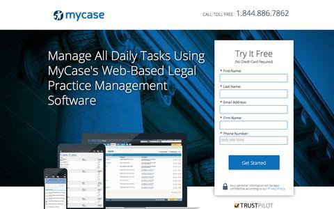 Screenshot of Landing Page mycase.com - MyCase | Legal Practice Management Software - captured Dec. 14, 2016