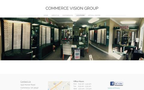 Screenshot of Locations Page commercevisioncenter.com - LOCATIONS - Commerce Vision Group - captured April 28, 2017