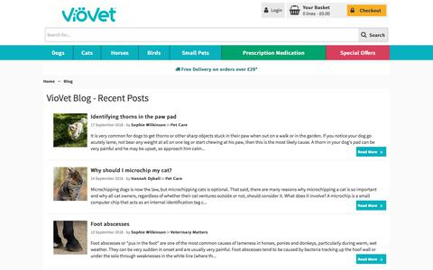 Screenshot of Blog viovet.co.uk - VioVet Blog | Useful Pet Advice | Helpful  - captured Sept. 24, 2018