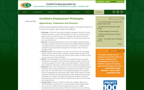 Screenshot of Jobs Page ccscoatings.ca - Careers at Certified Coatings Specialists - captured Oct. 2, 2014