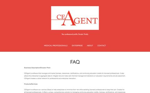 Screenshot of FAQ Page ceagent.com - FAQ - captured Sept. 26, 2014