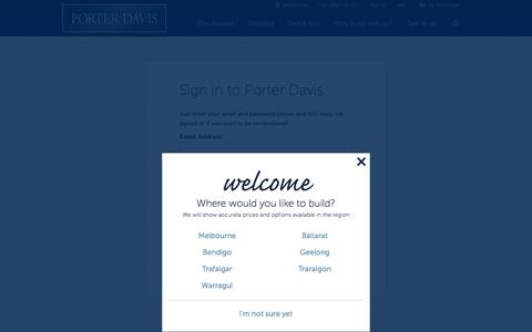 Screenshot of Login Page porterdavis.com.au - Login - Porter Davis Homes - captured Sept. 25, 2014