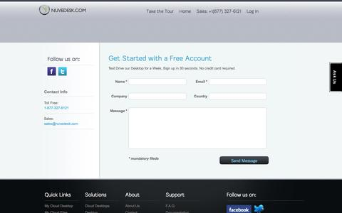 Screenshot of Signup Page nuvedesk.com - signup   NUVEDESK - captured Oct. 4, 2014