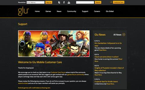 Screenshot of Support Page glu.com - Glu | The Leader in 3D Freemium Mobile Gaming - captured Sept. 16, 2014
