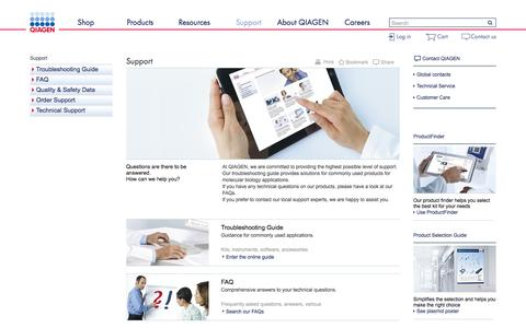 Screenshot of Support Page qiagen.com - Support - QIAGEN - captured July 3, 2016