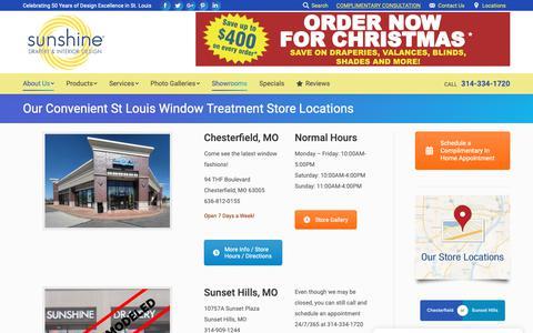 Screenshot of Locations Page sunshinedrapery.com - Sunshine Drapery Store and Headquarters Locations - captured Nov. 10, 2018