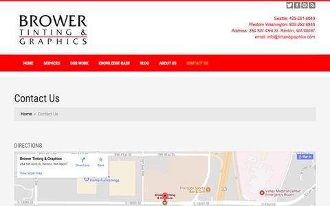 Screenshot of Contact Page tintandgraphics.com - Contact Us | Brower Tint and Graphics - Washington - captured Oct. 11, 2017
