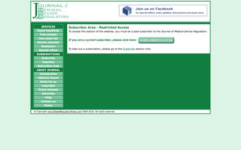 Screenshot of Login Page globalregulatorypress.com - Journal of Medical Device Regulation Subscribers Area - captured July 15, 2016