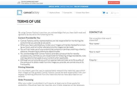 Screenshot of Terms Page thecanvasfactory.com.au - Terms and Conditions | Canvas Factory - captured Oct. 30, 2014
