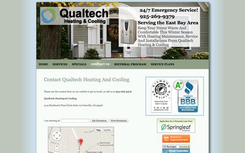 Screenshot of Contact Page qualtechhvac.com - Danville, CA Contact Us |  Qualtech Heating And Cooling - captured Oct. 22, 2014