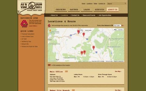 Screenshot of Locations Page oldwestfcu.org - Branch & ATM Locations - Hours | Old West FCU | John Day - Baker City - Prairie City | Oregon - OR - captured Oct. 26, 2014