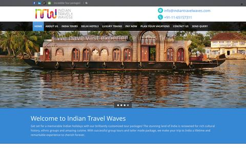 Screenshot of Home Page indiantravelwaves.com - Indian Travel Waves - India's leading Travel Company - captured Feb. 10, 2016