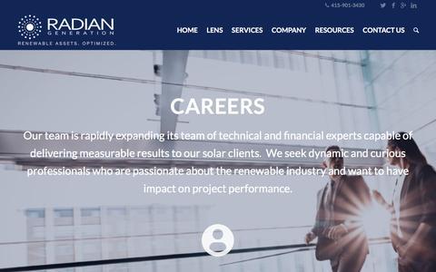 Screenshot of Jobs Page radiangen.com - Careers - Radian Generation - captured July 6, 2018
