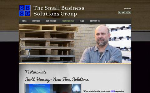 Screenshot of Testimonials Page weebly.com - What our satisfied clients are saying... - The Small Business Solutions Group - captured Oct. 26, 2014