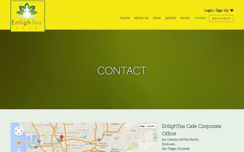 Screenshot of Contact Page enlightea.com - Contact - EnlighTea - captured Oct. 27, 2014
