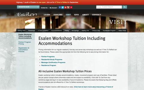 Screenshot of Pricing Page esalen.org - Esalen Workshop Tuition Including Accommodations   Esalen - captured Sept. 22, 2018