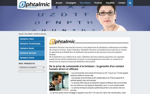 Screenshot of Services Page ophtalmic-compagnie.fr - Ophtalmic Services | Ophtalmic Compagnie - captured Oct. 7, 2014
