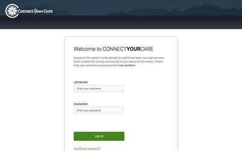 Screenshot of Login Page connectyourcare.com - Login | Health Account Benefits Portal - captured July 12, 2019