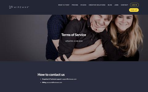 Screenshot of Terms Page wirewax.com - WIREWAX Interactive Video — Terms of Service - captured Sept. 23, 2018
