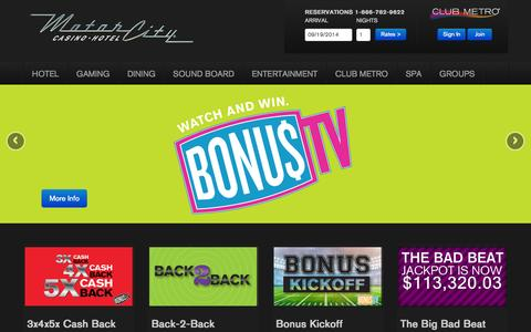 Screenshot of Home Page motorcitycasino.com - A Luxury Detroit Hotel Experience Like No Other - MotorCity         Casino Hotel - captured Sept. 19, 2014