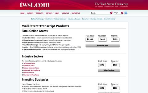Screenshot of Products Page twst.com - The Wall Street Transcript - captured Sept. 22, 2014