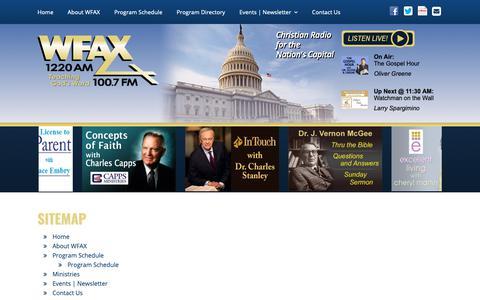 Screenshot of Site Map Page wfax.com - Christian Radio   Washington, DC – WFAX 1220AM   100.7FM Worldwide   Sitemap   WFAX - captured Dec. 21, 2018