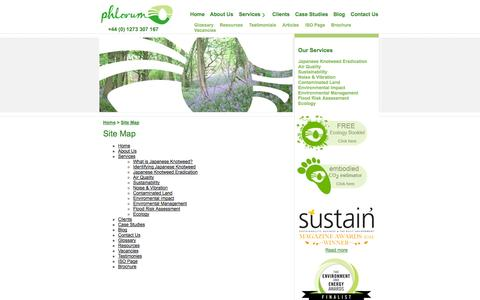 Screenshot of Site Map Page phlorum.com - Site map - Environmental Management - Phlorum - captured Sept. 22, 2014