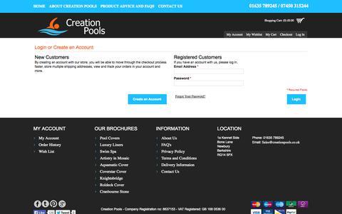 Screenshot of Login Page creationpools.co.uk - Customer Login - captured Oct. 3, 2014