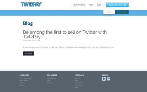 Screenshot of Blog Press Page twt2pay.com - Blog - captured Oct. 22, 2014