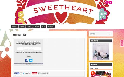 Screenshot of Signup Page sweetheartalbum.com - Mailing List   - Sweetheart Love Songs: The Official Site - captured June 6, 2016
