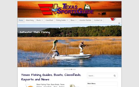 Screenshot of Home Page texs.com - Texas Fishing Guide - captured Oct. 2, 2018
