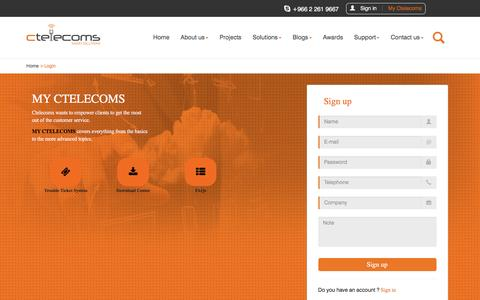 Screenshot of Signup Page ctelecoms.com.sa - Ctelecoms for IT Services and Business Solutions - captured Jan. 23, 2016
