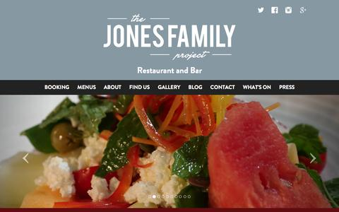 Screenshot of Home Page About Page Contact Page jonesfamilyproject.co.uk - The Jones Family Project - Food, Drink and Great Times - The Jones Family Project - captured Sept. 19, 2014